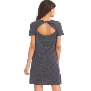 Gap Slub Twist Back Striped Dress